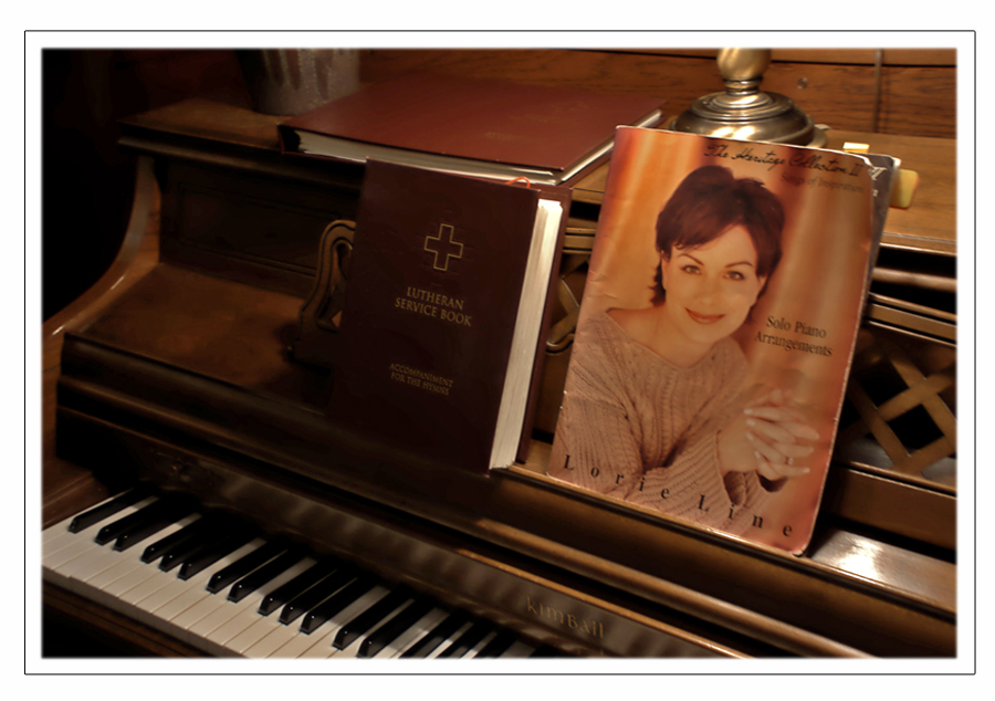 My favorite piano and my favorite sheet music Lorie Line