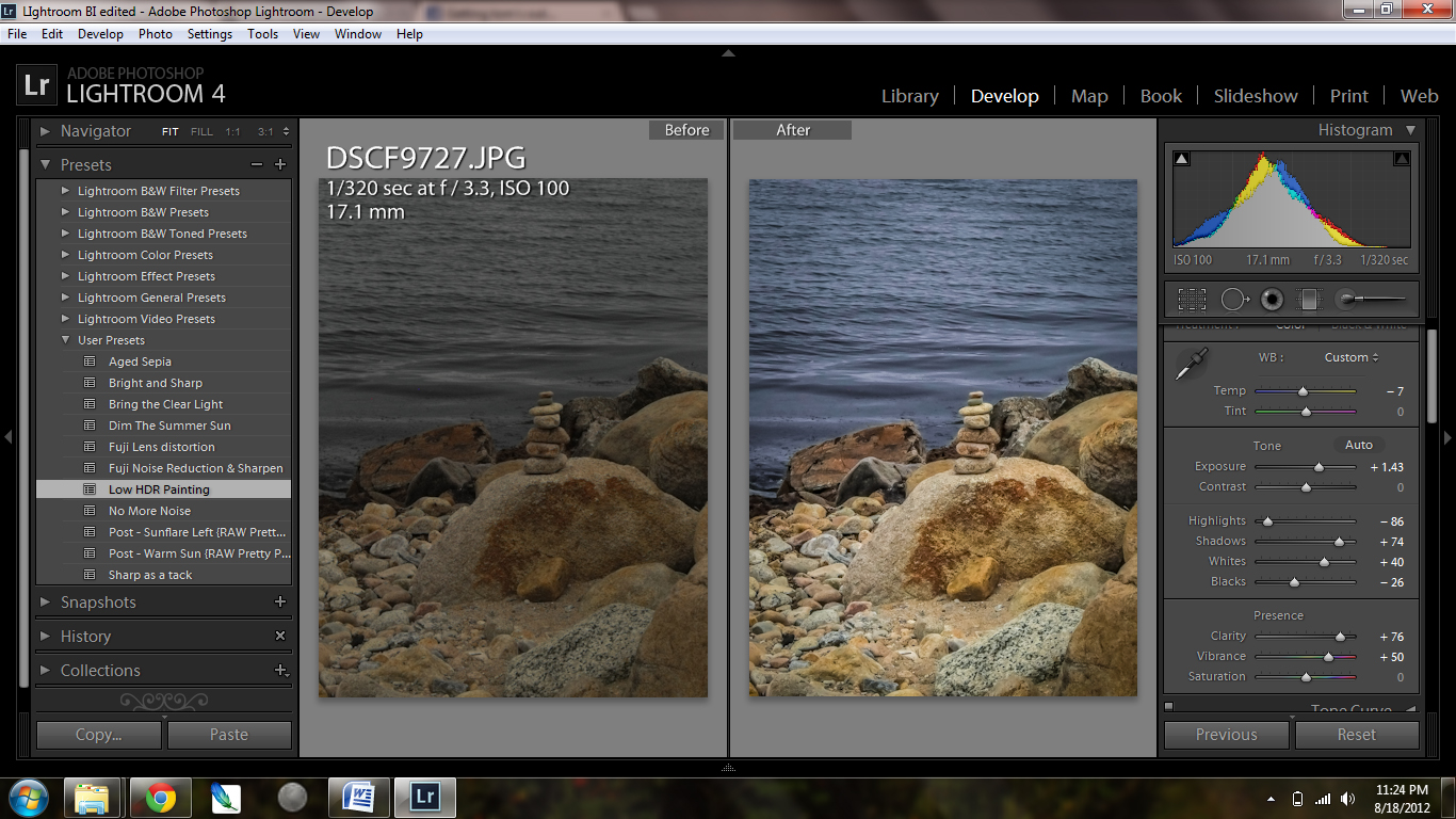 Photo editing in Lightroom 4